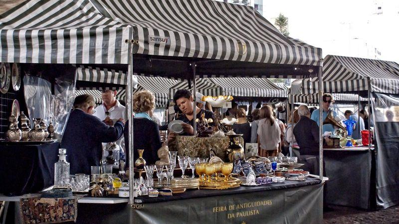 Stallholders ply their trade at the weekly antiques fair in Paulina