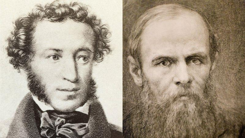 Both Pushkin (left) and Dostoevsky (right) lived in St Petersburg