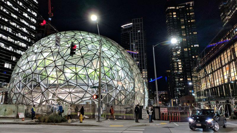 A biosphere dome at the Seattle headquarters of Amazon