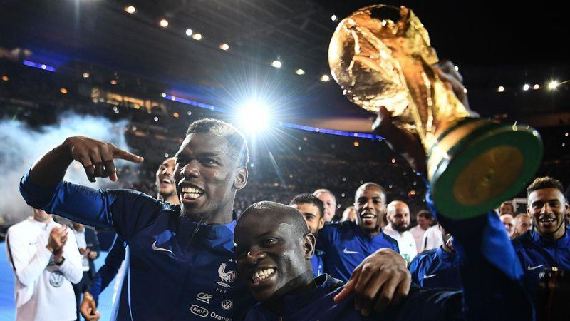 The French team celebrate their World Cup victory this July