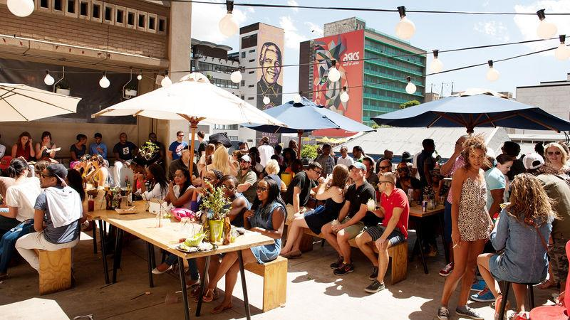 A rooftop bar in Braamfontein, a popular entertainment area