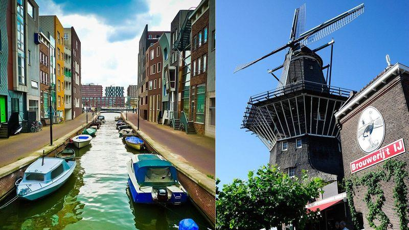 Left: Lamong canal, Eastern Docklands. Right: De Gooyer windmill next to Brouwerij 't IJ brewhouse