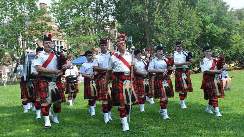 Midland Pipes and Drums performing at the annual Beach Celtic Festival