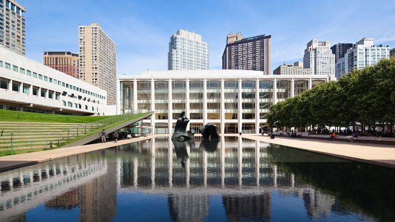 The Paul Milstein pool and terrace at the Lincoln Center