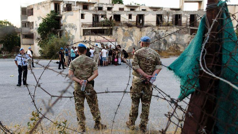 UN peacekeepers in the buffer zone between the Greek and Turkish parts of the island