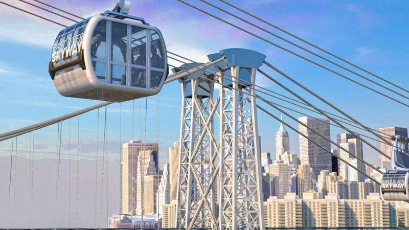 An aerial gondola beside the Williamsburg Bridge is one of the replacements being considered for commuters when the L train closes for engineering works