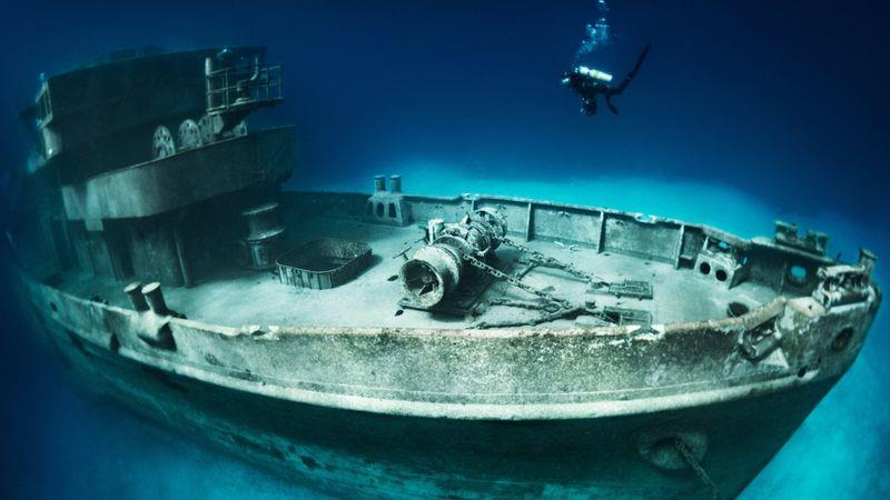 The wreck of the USS Kittiwake submarine rescue vessel