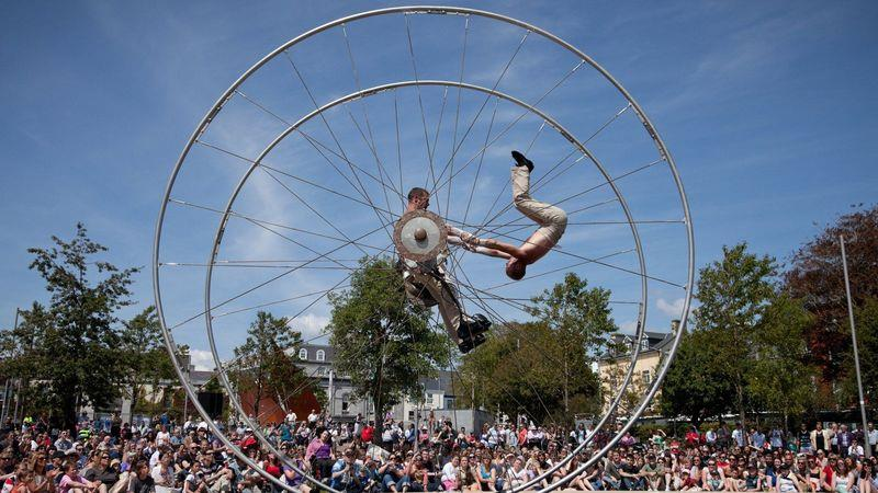 Acrobats perform at the annual Galway Arts Festival