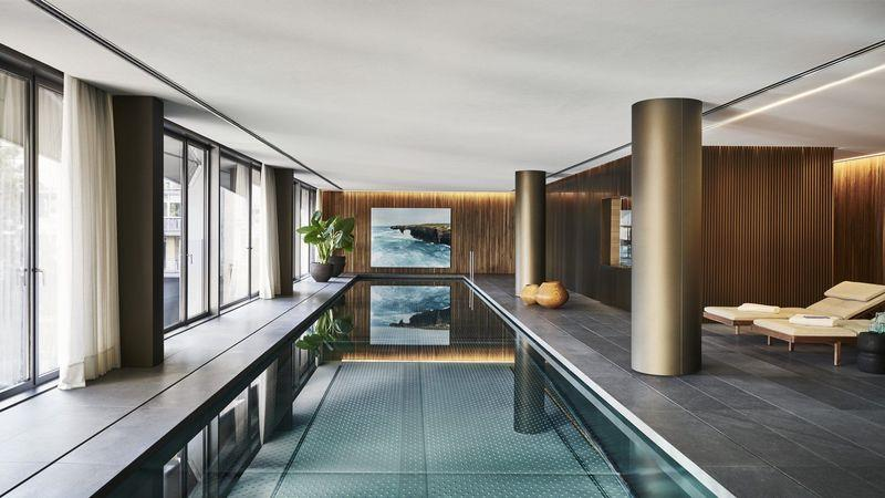 The building's pool offers city views