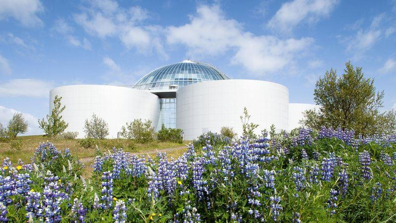 The hilltop Perlan hosts exhibitions and a planetarium