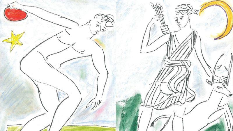Ancient Greece and Rome are a favourite theme of Hall's illustrations