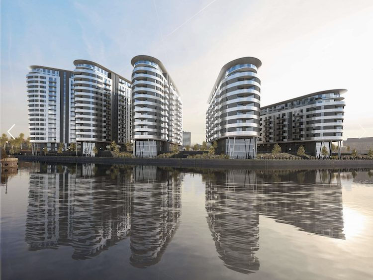 Water front apartments in the city of Manchester